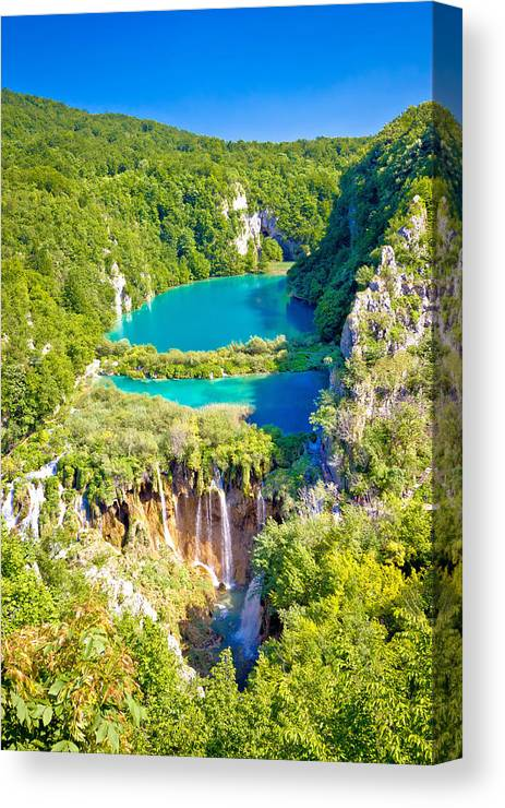 Croatia Canvas Print featuring the photograph Beautiful Falling Lakes Of Plitvice National Park by Brch Photography