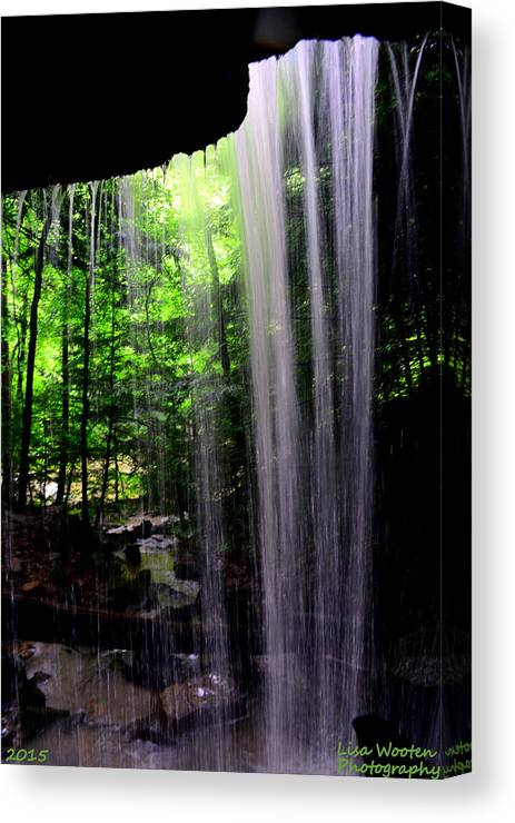 Mcconnells Mill State Park Pa Canvas Print featuring the photograph Behind The Falls by Lisa Wooten