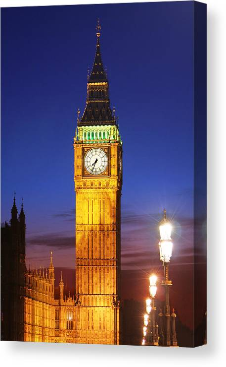 Big Canvas Print featuring the photograph Big Ben At Night by Dan Breckwoldt