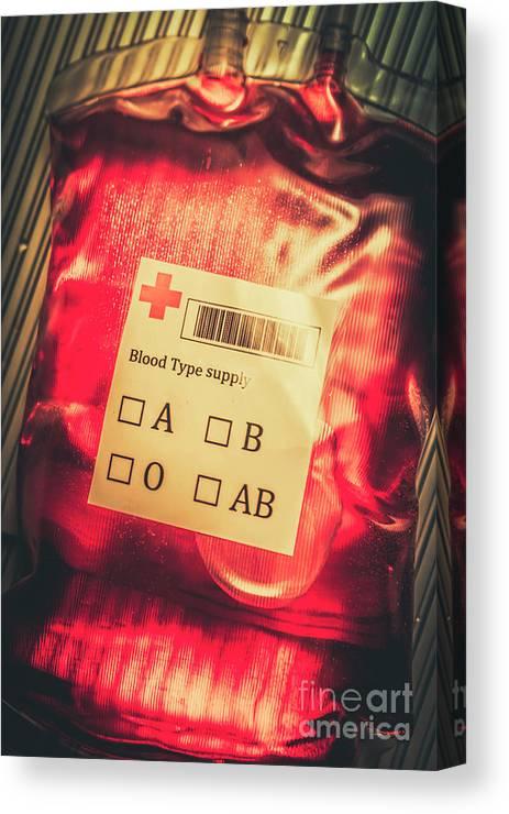 Blood Donation Bag Canvas Print