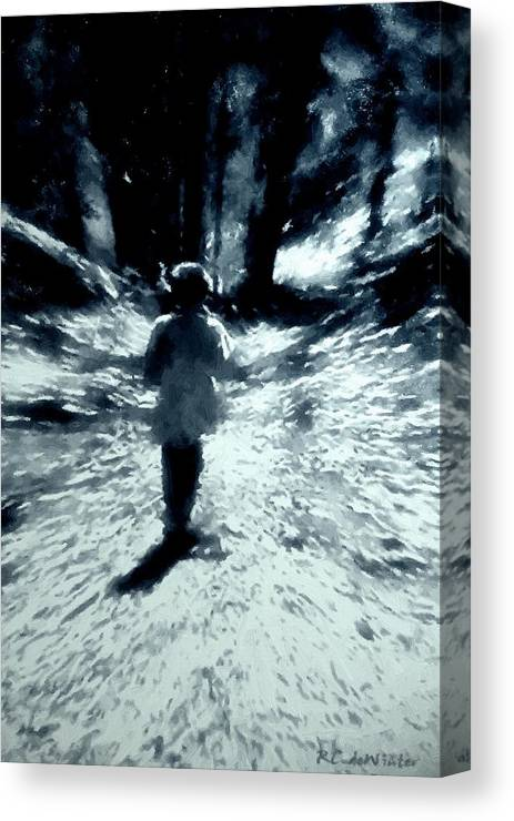 Blue Canvas Print featuring the painting Blue Boy Walking Into The Future by RC DeWinter
