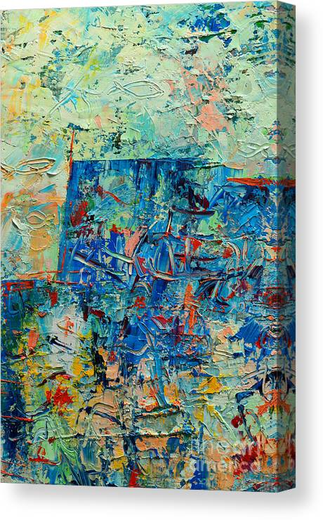 Blue Canvas Print featuring the painting Blue Play 2 by Ana Maria Edulescu