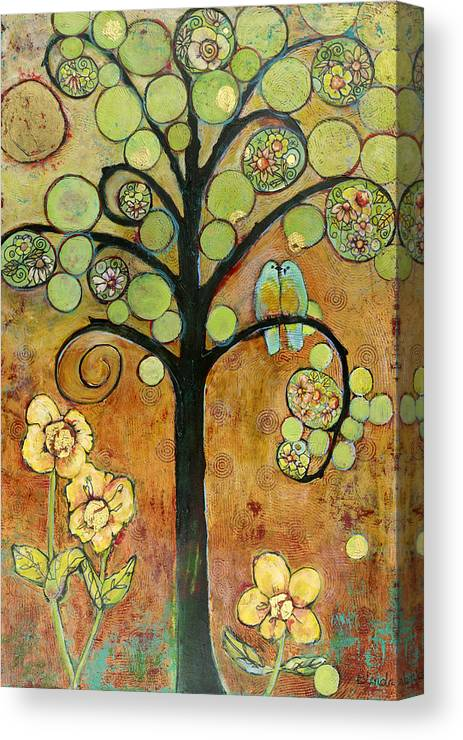 Tree Canvas Print featuring the painting Bluebirds In Paradise Tree by Blenda Studio
