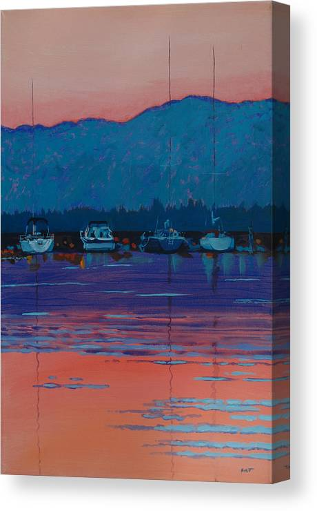 Sail Canvas Print featuring the painting Boats At Dusk by Robert Bissett