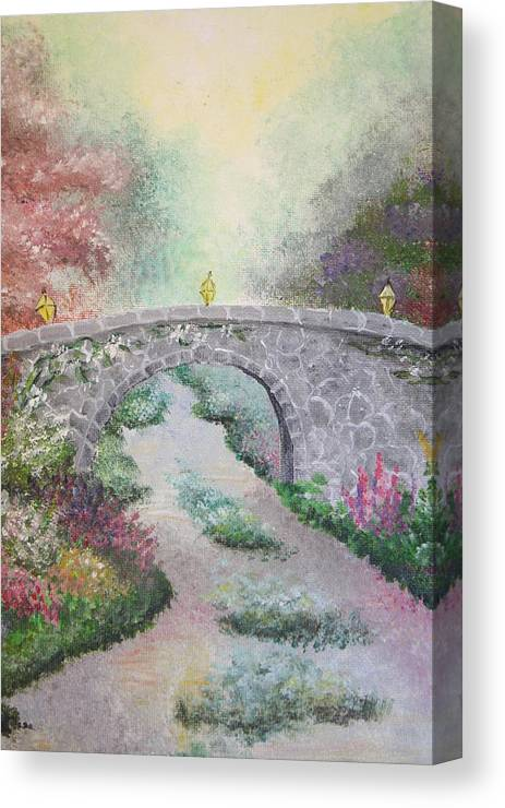 Bridge Canvas Print featuring the painting Bridge by Melissa Wiater Chaney