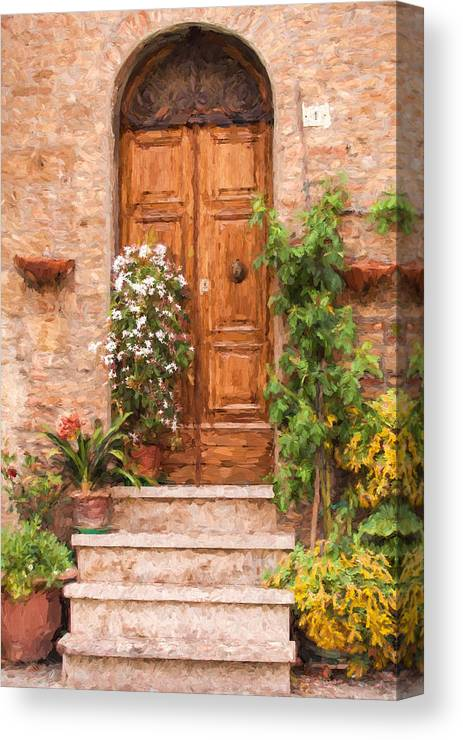 Cortona Canvas Print featuring the painting Brown Door Of Tuscany by David Letts