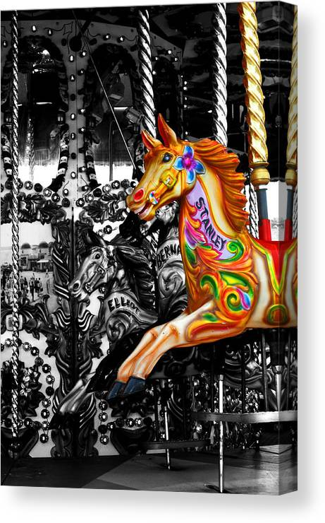 Bournemouth Canvas Print featuring the photograph Carousel In Isolation by Chris Day