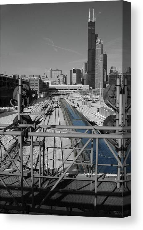 Chicago Amtrak Canvas Print featuring the photograph Chicago Amtrak by Dylan Punke