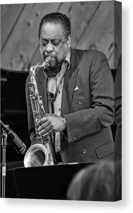 Musicians Canvas Print featuring the photograph Chico Freeman, 2018 by Jim Bourne