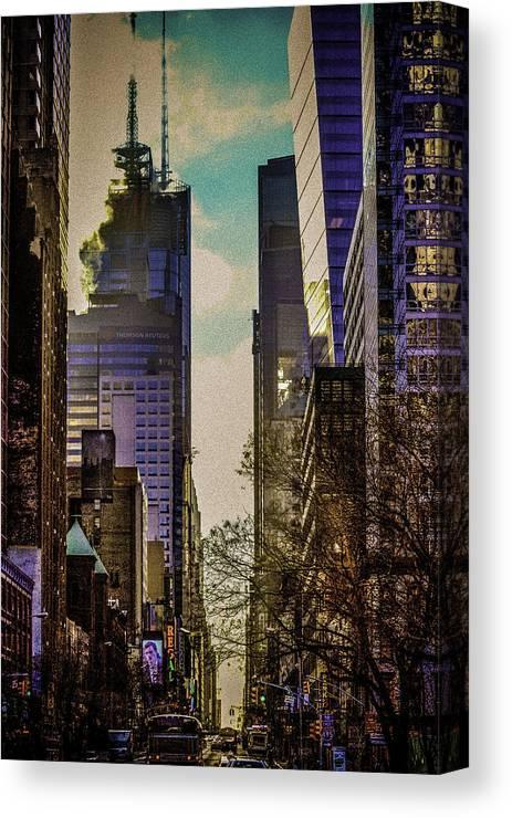 New York Canvas Print featuring the digital art City Street by Jen Pezzo