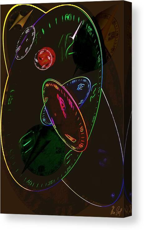 Clocks Canvas Print featuring the digital art Concurrent Clocks by Helmut Rottler