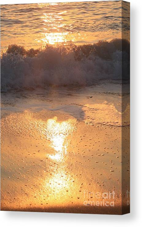 Waves Canvas Print featuring the photograph Crashing Wave At Sunrise by Nadine Rippelmeyer