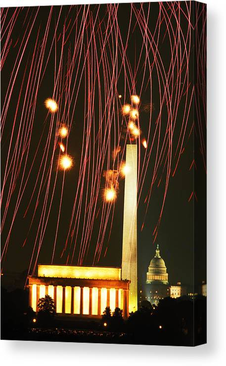 July 4 Canvas Print featuring the photograph Dc Fireworks by Carl Purcell