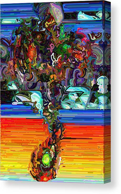 Modern Canvas Print featuring the digital art Digital Flowers by Paul Gavin