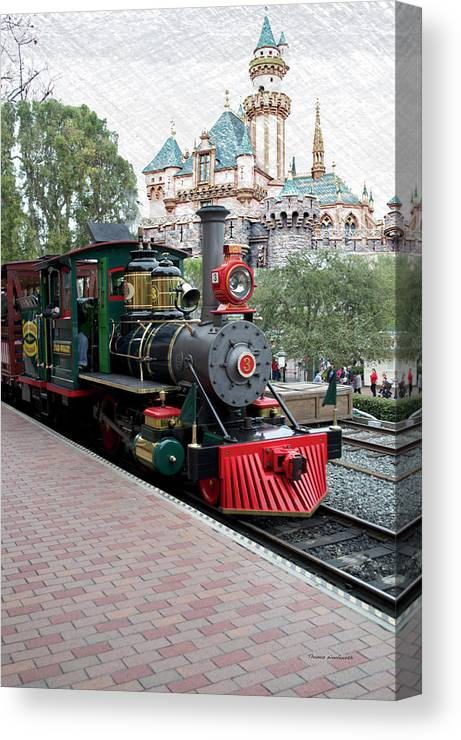 Disney Canvas Print featuring the photograph Disneyland Railroad Engine 3 With Castle by Thomas Woolworth