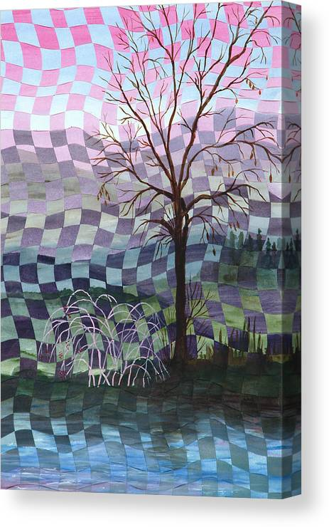 Tree Canvas Print featuring the painting Down By The River by Linda L Doucette