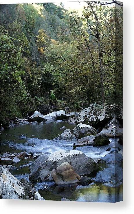 Stream Canvas Print featuring the digital art Down Stream by Bj Hodges