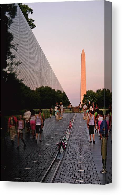 Viet Nam Veterans Memorial Canvas Print featuring the photograph Dusk At The Viet Nam Veterans Memorial by Brian M Lumley