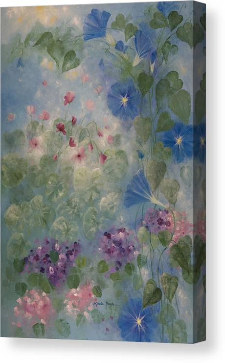 Floral Canvas Print featuring the painting Early Morning Glory by Linda Rauch