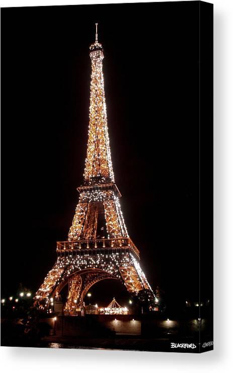 Eiffel Tower Canvas Print featuring the photograph Eiffel Tower Sparkling by Al Blackford