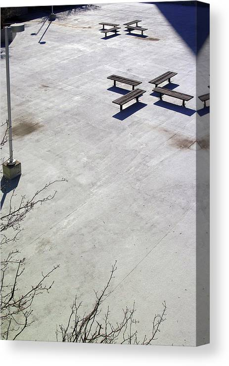 Black And White Photography Canvas Print featuring the photograph Empty Benches by Wayne Denmark