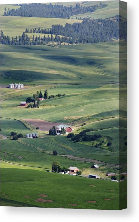 Fertile Canvas Print featuring the photograph Farmland In Eastern Washington State by Carl Purcell