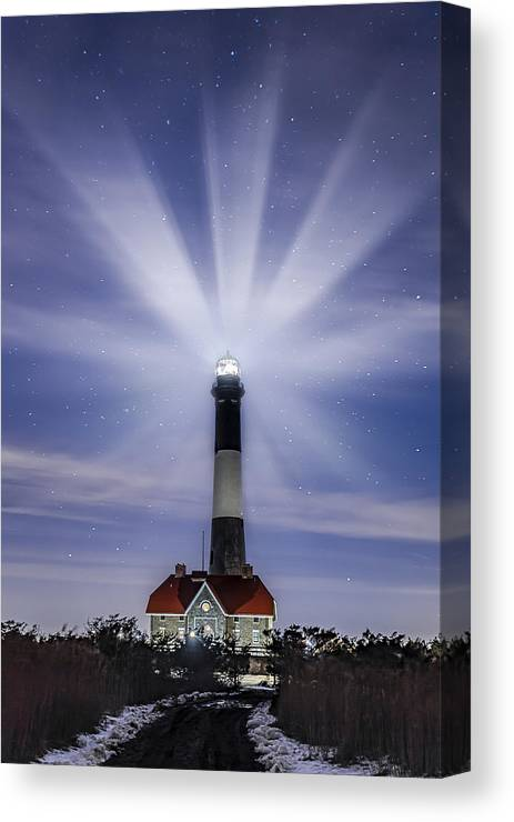 Fire Island Light Canvas Print featuring the photograph Fire Island Lighthouse Twilight by Susan Candelario