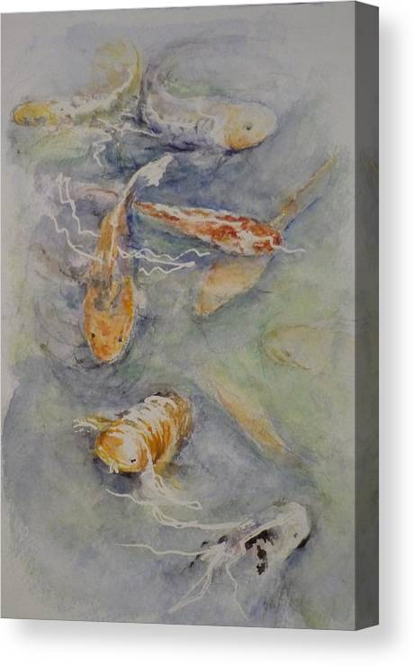 Fish Canvas Print featuring the painting Fish Pond by Lizzy Forrester