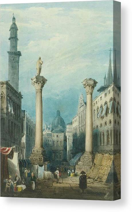 Gatti Canvas Print featuring the painting flower market in Vicenza by MotionAge Designs