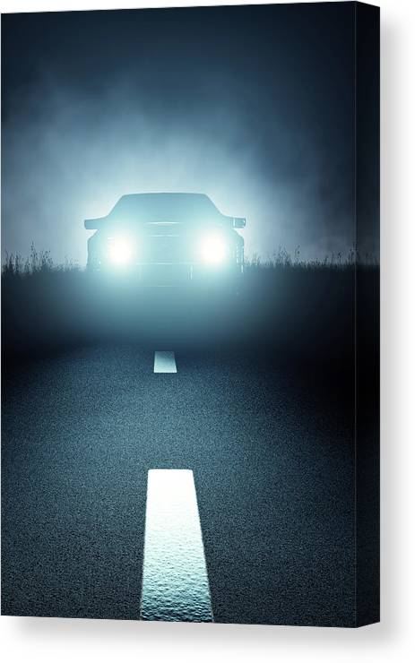Car Canvas Print featuring the digital art Front Car Lights At Night On Open Road by Johan Swanepoel