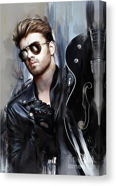 George Michael Canvas Print featuring the painting George Michael Singer by Melanie D