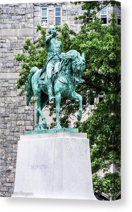 This Is A Photo Of The George Washington Statue In Front Of The Dinning Hall At The West Point Military Academy West Point New York. Canvas Print featuring the photograph George Washington At West Point Military Academy by William Rogers