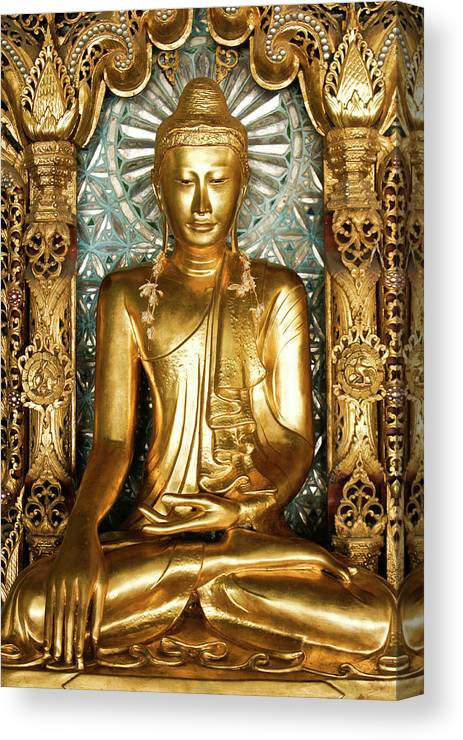 Asia Canvas Print featuring the photograph Golden Buddha by Michele Burgess
