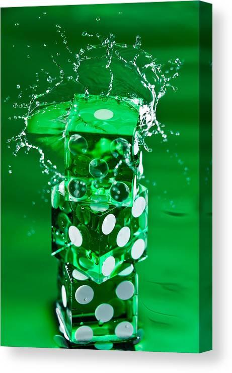 Dice Canvas Print featuring the photograph Green Dice Splash by Steve Gadomski