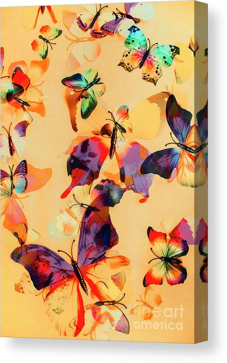 Background Canvas Print featuring the photograph Group Of Butterflies With Colorful Wings by Jorgo Photography - Wall Art Gallery