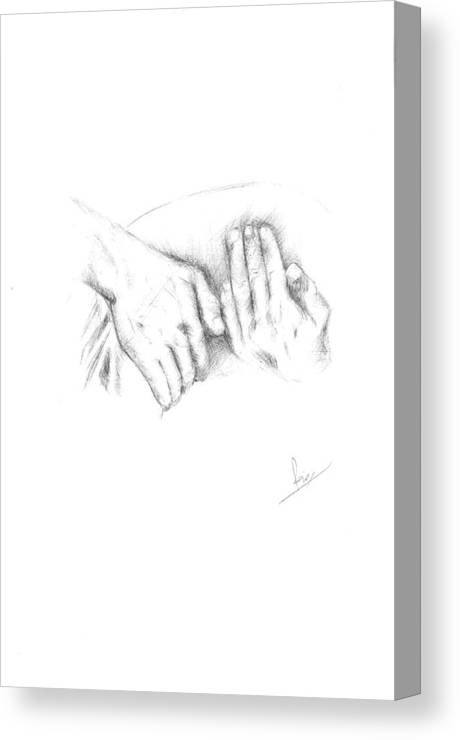 Rani Canvas Print featuring the drawing Hands by Reza Naqvi