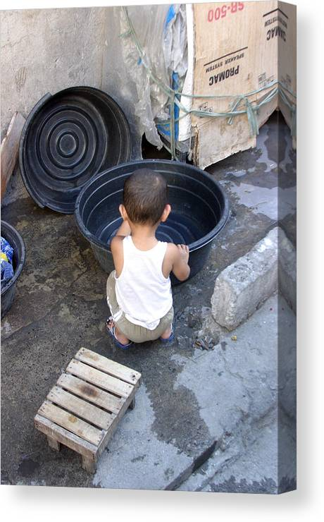 Photographer Canvas Print featuring the photograph Helping With The Washing by Jez C Self