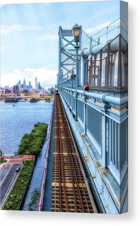 Philly Canvas Print featuring the photograph Here Comes The Train by Carol Ward