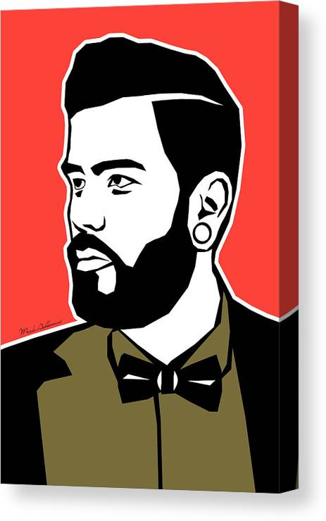 Gay Bear Canvas Print featuring the painting Hipster 3 by Mark Ashkenazi