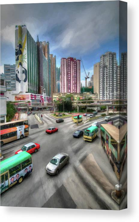Hong Kong Canvas Print featuring the digital art Hong Kong Traffic by Ronald Bolokofsky