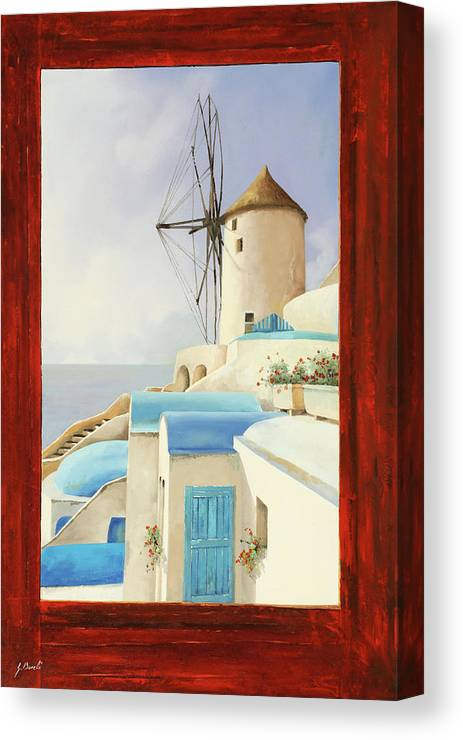 Windmill Canvas Print featuring the painting Il Mulino Oltre La Finestra by Guido Borelli