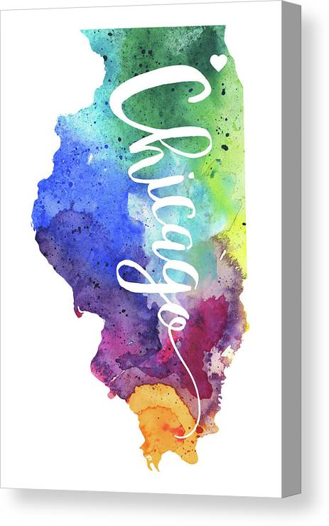 Illinois Watercolor Map Chicago Hand Lettering Canvas Print
