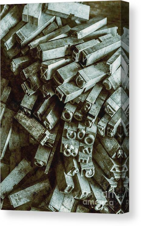 Old Canvas Print featuring the photograph Industrial Letterpress Typeset by Jorgo Photography - Wall Art Gallery