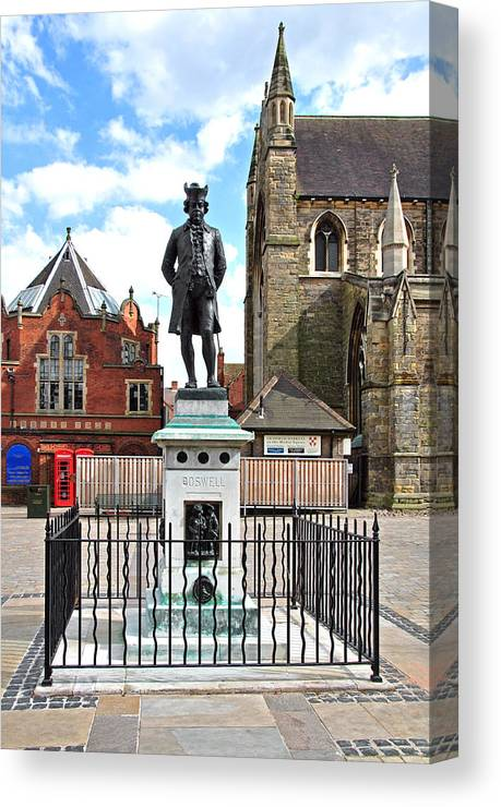 Red Canvas Print featuring the photograph James Boswell Statue - Lichfield by Rod Johnson