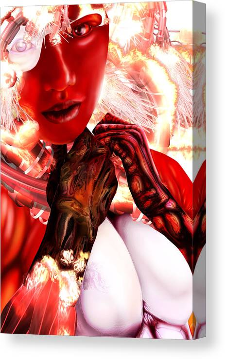 Embrace The Dark Military Science Fiction Horror Futuristic Weapons Battle Armor Brazil Russia British Soldier Dark Matter Electromagnetism Graphic Novel Bandes Designees Manga Canvas Print featuring the digital art Kaji From Tokyo Evolved by Claude-Robert Policart