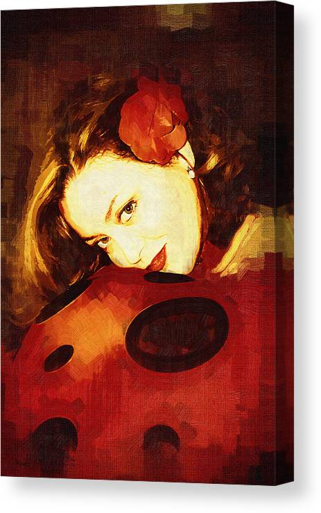 Portrait Canvas Print featuring the digital art Lady Bug by Holly Ethan