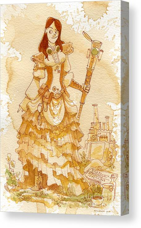 Steampunk Canvas Print featuring the painting Lady Codex by Brian Kesinger