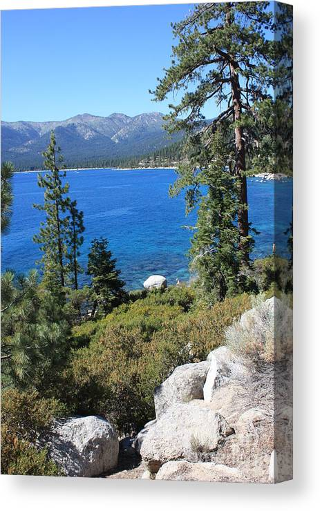 Lake Tahoe Canvas Print featuring the photograph Lake Tahoe With Mountains by Carol Groenen