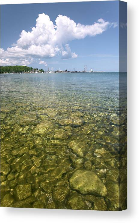 Bruce Peninsula Canvas Print featuring the photograph Lion's Head - Summer Afternoon On The Dock by Rick Shea