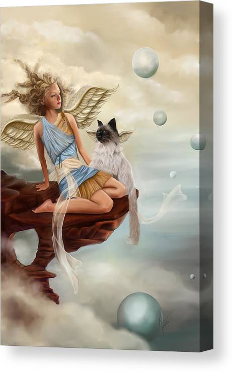 Angel Canvas Print featuring the painting Little Angel by Maggie Terlecki